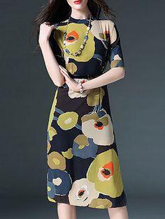 Yellow Floral-print Half Sleeve Floral Polyester Midi Dress