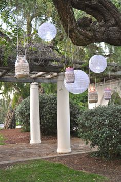 #DIY Mason Jar Lanterns by MakeLifeLovely.com   Mason Jar Crafts   Summer Party Decorations