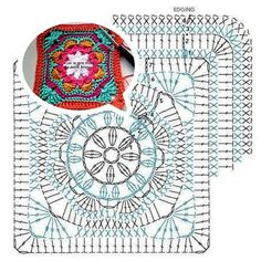 The Ultimate Granny Square Diagrams Collection ⋆ Crochet Kingdom - Salvabrani Crochet Mandala Pattern, Crochet Motifs, Granny Square Crochet Pattern, Crochet Blocks, Crochet Diagram, Crochet Chart, Crochet Squares, Crochet Granny, Crochet Stitches