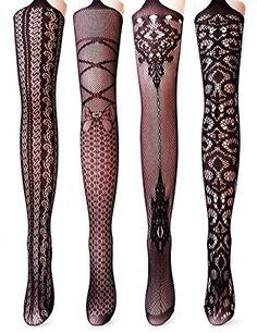 f398c645c2e Vero Monte 4 Pairs Women s Fishnet Tights Suspender Thigh High Pantyhose ( Black)
