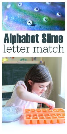 Alphabet slime with glue and starch. Fine motor wor too!