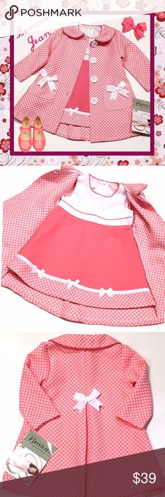 BONNIE JEAN NWT 2-Pc Girl's Dress & Coat ~ 12 M Brand new with tags little girl's sleeveless dress and matching coat, size 12 months.  Colors are salmon pink and white.  Bonnie Jean Matching Sets