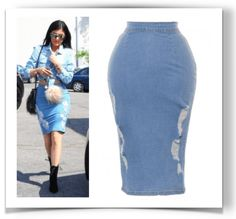 Celebrity trend alert - denim skirts. Kylie Jenner is wearing the Jaide Ripped Denim Midi Skirt, from $42 USD online. More styles in blog post.