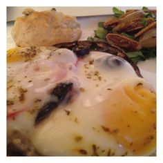 and baked eggs side salad of romaine grilled onions and figs with ...