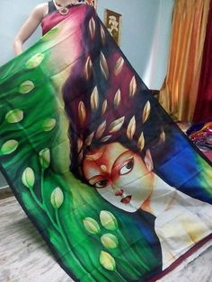 Abstract art Organza Hand Painted Saree - Only on order! Saree Painting, Fabric Painting, Fabric Art, Fabric Design, Hand Painted Sarees, Hand Painted Fabric, Essence Of India, Learn To Sketch, Tanjore Painting