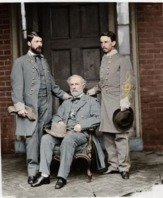 Colorized Civil War Photos - Armchair General and HistoryNet >> The Best Forums in History by Zuzah.  Lee and his two sons at Lees home in Richmond after the surrender at Appomattox.