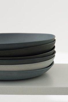Plates porcelain gray set by GoldenBiscotti