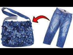 DIY BAG FROM OLD JEANS / How to Sew a Bag? / Eski Kottan Çanta Yapımı / Recycling Of Old Jeans - YouTube Diy Bags From Old Jeans, Old Jeans Recycle, Diy Old Jeans, Diy Tie Dye Techniques, Denim Bag Patterns, Chudidhar Neck Designs, Blue Jean Quilts, Fancy Dress Design, Denim Crafts