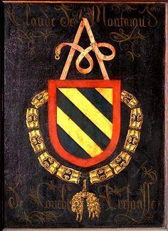 Golden Fleece Order Stall-plate of 72. Claude de Montagu, Seigneur de Couches (+1470), Kathedraal Sint-Salvator Brugge, by Pierre Coustain, 1478.