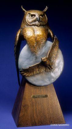 ''NIGHT HUNTER'' a great horned owl by Chris Navarro  bronze sculptures at Navarro Gallery and Outdoor sculpture garden in Tlaquepaque arts village Sedona Arizona ph (928) 204-1144   www.chrisnavarro.com --