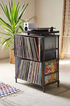 27 vinyl record storage and shelving solutions Vinyl Record Storage Shelf, Storage Shelves, Vinyl Shelf, Vinyl Record Display, Record Cabinet, Storage Rack, Storage Ideas, Shelving Solutions, Home Decoracion