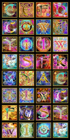 This is a set of illuminated letters to go as chapter headings for author A.k. Luthienne. There are three books in a series called The Sacred Quest and each book has its own set of letters... :) www.designshaman.net