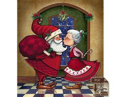 Under the Mistletoe  Santa and Mrs Clause by Buzzbeedesigns