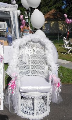 Big White Chair For Baby Shower : white, chair, shower, Shower, Chairs, Ideas, Chair,, Shower,, Chair, Decorations