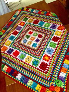 Love hte colours for temp blanket? Random Rainbow Blanket – Handmade In Marbellabest ideas about Crochet blanketsLove the idea of granny squares and stripes together.my first post - afghan this FREE Crochet Blanket Patterns for you to try. Crochet Afgans, Crochet Quilt, Crochet Blocks, Afghan Crochet Patterns, Crochet Squares, Crochet Granny, Baby Blanket Crochet, Crochet Motif, Knitting Patterns