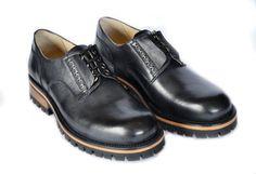 Derby Leather shoes Black Men's shoes Women's di MDesignWorkshop