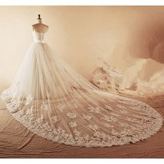 Sweetheart Pleated A-line Ivory tulle long train Beaded Crystal... (7.020 CZK) ❤ liked on Polyvore featuring dresses and wedding dresses