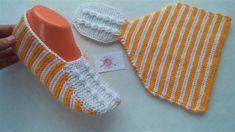 Çok Şık bir patik modeli / yeni patik modelleri / iki şiş kolay patik mo... Knit Slippers Free Pattern, Crochet Shoes Pattern, Knitted Slippers, Crochet Circles, Crochet Squares, Knitting Projects, Knitting Patterns, Easy Knitting, Crochet Baby