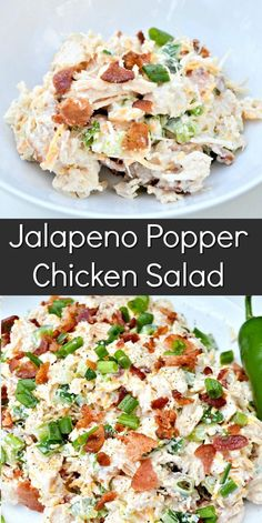 Low Carb Chicken Recipes, Healthy Low Carb Recipes, Chicken Salad Recipes, Cooking Recipes, Jalapeno Chicken Salad Recipe, Salad Chicken, Chicken Salas, Fried Pickles Recipe, Low Carb Chicken Salad