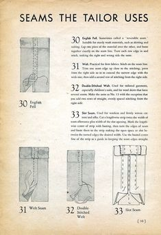 Seams the Tailor Uses, 1939 Sewing Secrets | Best and Essential Sewing Tips, Tools, and Tricks for Beginners | Sewing Hacks | Learn How to Sew | Sewing Tutorials and Instruction | Simple Sewing Techniques
