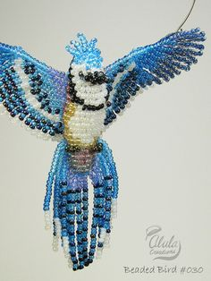 Beaded Bird Suncatcher : Blue jay Bird Necklace / Beaded Window Decor / 3D Bird Ornament / Bird Room Decor / BB030