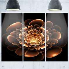 Glittering Brown Yellow Fractal Flower - Floral Glossy Metal Wall Art - 36Wx28H
