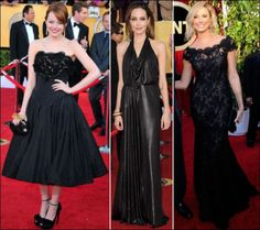 2012 SAG Awards red carpet dresses. BLACK Emma Stone looks sweet in a strapless Alexander McQueen dress. Angelina Jolie wears a Jenny Packham black liquid metallic draped front gown. Stacy Keibler in an off-the-shoulder lace Marchesa dress.