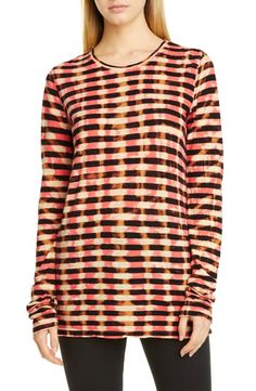 $245.0. PROENZA SCHOULER Skincare Tie Dye Stripe T-Shirt #proenzaschouler #skincare #neck&decollete #clothing Long Sleeve Silk Dress, Long Sleeve Tops, Ribbed Cardigan, Silk Pants, Cut Shirts, Proenza Schouler, Tshirts Online, Tie Dye, Clothes For Women
