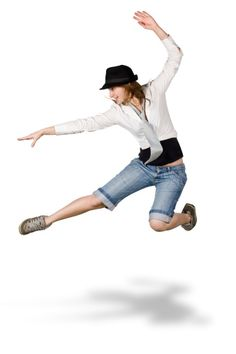 Imagen libre de derechos: hip hop dancer girl jump isolated…