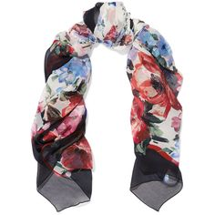Dolce & Gabbana Floral-print silk-crepon scarf (9,915 EGP) ❤ liked on Polyvore featuring accessories, scarves, black, floral scarves, vintage silk scarves, floral print scarves, tying silk scarves and colorful scarves