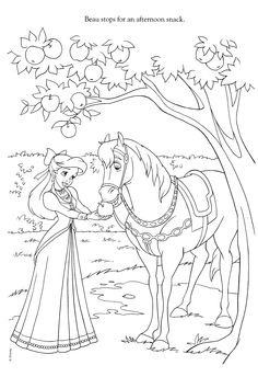 Ariel And Horse Coloring Page