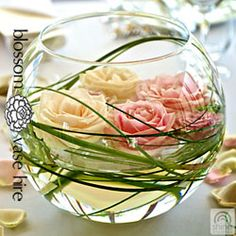 Fish bowl vase decor prop hire Auckland Blossom Wedding Flowers