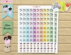 Makeup kawaii brushes Printable planner stickers for your planner