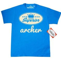 Inktastic Archer Vintage Superior T-Shirt Gift Retro Crown Hobby Archery Hunting Sports Mens Adult Clothing Apparel Tees T-shirts Hws, Size: Medium, Blue