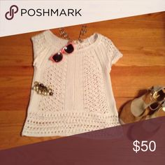 Laura Ashly knit top! White knit top that looks good w pants, jeans and skirts. Lilly Pulitzer Sweaters