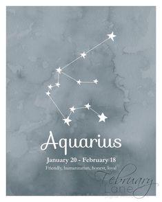 Aquarius Zodiac Constellation 8x10 Instant by FebruaryLane on Etsy