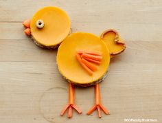 Fun Snack Creations: Cheesy Spring Chick!  Simple and easy snack the kiddos will love!