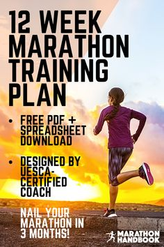 This 12 week marathon training plan is perfect for runners with some experience looking to get marathon ready in 3 months! Designed for intermediate runners by a UESCA-certified coach, this free downloadable PDF and spreadsheet training plan is yours forever - and customisable!  #marathon #marathontraining Running Training Plan, Half Marathon Training Plan, Marathon Tips, Running Humor, Marathon Running, Running Motivation, Running Tips, Runner Problems, Running For Beginners