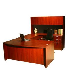 Boss Bow-front Work Station with Hutch. All your work materials will remain organized in this powerful piece of furniture. The design is reversible to perfectly suit your space. Work Station Desk, Work Desk, Office Desk, Office Furniture Stores, Furniture Deals, Dream Desk, Desk Hutch, Modern House Design, Storage Spaces