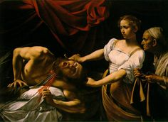 Caravaggio's version of Judith Slaying Holofernes. In contrast to Gentileschi's - especially with the maidservant. Judith seems more dainty, less strong that G's Judith.