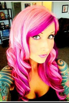 Pretty and bright shades of pink but, why would you want your hair to look like that?!