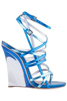 Dsquared2 Blue Metallic Strappy Wedge Sandal Spring-Summer 2015 #Shoes #Wedges #beautyinthebag #omg
