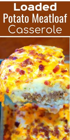 Loaded Potato Meatloaf Casserole Is An Easy Ground Beef Dinner ! Loaded Potato Meatloaf Casserole Is An Easy Ground Beef Dinner ! loaded potato meatloaf casserole ist ein e Meatloaf Casserole Recipe, Potatoe Casserole Recipes, Casserole Dishes, Meatloaf Recipes, Easy Hamburger Meat Recipes, Steak Recipes, Supper Ideas With Hamburger, Hamburger Casserole, Beef Meals