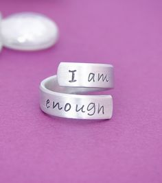 I am enough  hand stamped ring  by thelionsdenjewelry on Etsy, $10.00