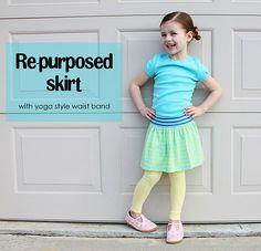 t-shirt to kids skirt - no pattern and quick to make (I just made two!). My kind of sewing.