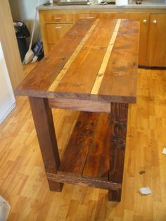 Ana white kitchen island from reclaimed wood diy projects throughout reclaimed wood kitchen island Portable Kitchen Island, Small Kitchen Tables, Kitchen Island Table, Kitchen Islands, Kitchen Ideas, Antique Kitchen Island, Kitchen Carts, Kitchen Planning, Long Kitchen