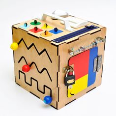 Busy Board, Busy Box, Wooden Toy, Sensory Board, Montessori Toy, Activity Cube, Toddler Busy Cube, Toddler Gift, Sorting Box, Color Box by WoodenToysStore on Etsy https://www.etsy.com/listing/476855596/busy-board-busy-box-wooden-toy-sensory