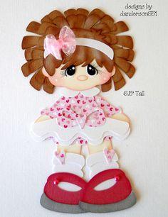 Girl in Pink Dress Paper Piecing Girl PreMade 4 Borders Scrapbook Albums