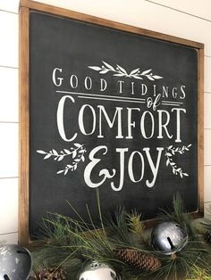 Good Tidings of Comfort and Joy Wood Signs and Wall Merry Christmas Frame, Christmas Signs Wood, Christmas Holidays, Christmas Decorations, Christmas Gifts, Christmas 2019, Diy Christmas Wall Decor, Holiday Fun, Christmas Chalkboard Art