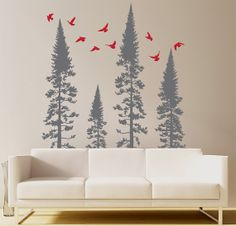 Forest Trees with Flying Birds Vinyl Wall Decal for Living Room, Waiting Room, Entryway, Foyer, Nursery or Bedroom